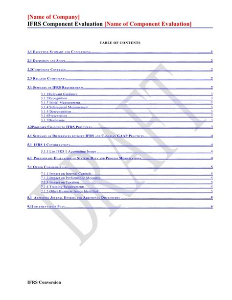 ifrs conversion template component evaluation template april 2009