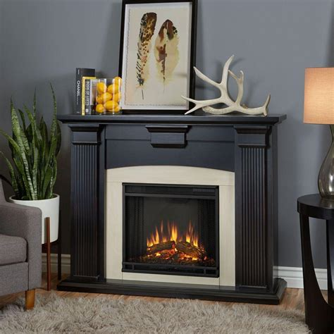 real adelaide 51 in electric fireplace in blackwash