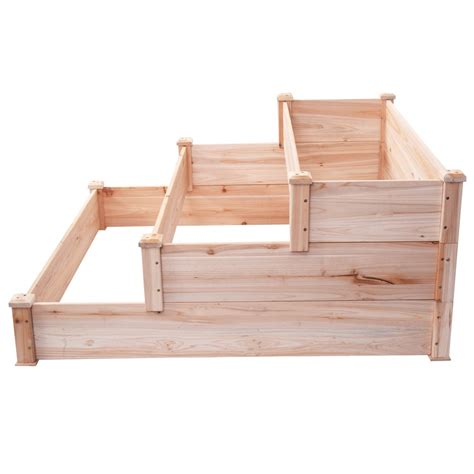 Wooden Raised Garden Bed Kits by Raised Vegetable Garden Bed 3 Tier Elevated Planter Kit