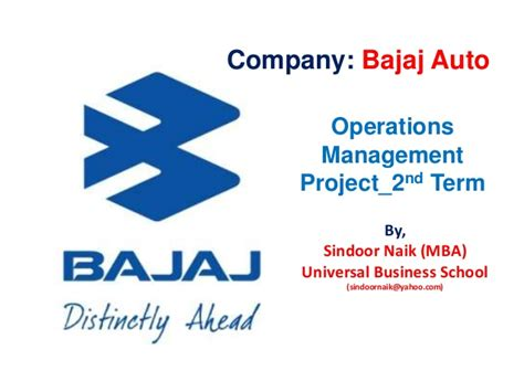 Operations Mba Project by Bajaj Auto Operations
