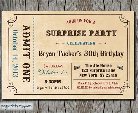 birthday ticket template birthday invite admit one ticket by pegsprints