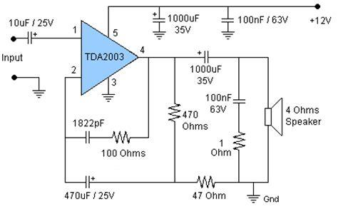 Ic Tda 2003 Ic St Audio Lifier 7 watt audio lifier with tda2003 circuit diagram