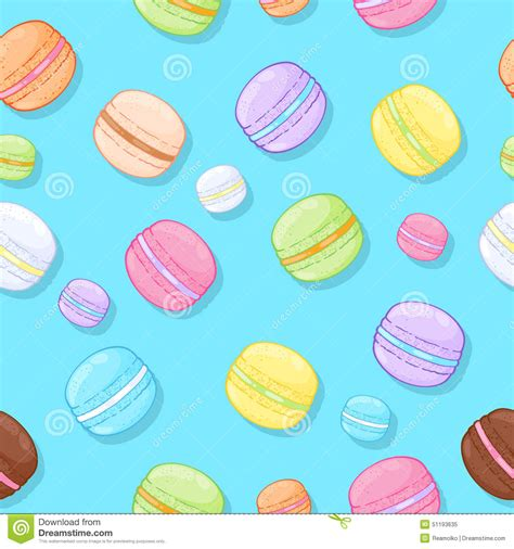 macarons pattern pink seamless assorted macarons pattern stock vector image