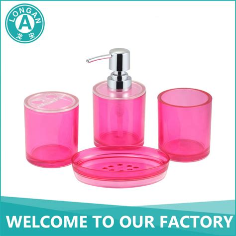 hotel balfour bathroom accessories customized plasict acrylic hotel balfour pink bathroom