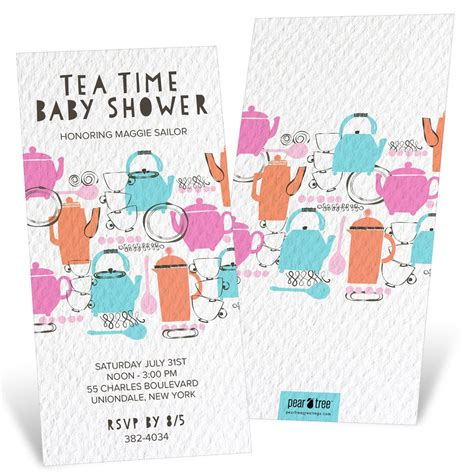 Baby Shower Time by Tea Time Baby Shower Invitations Pear Tree