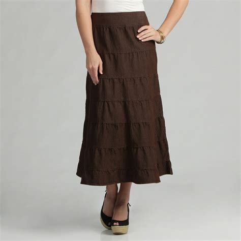 live a s brown tiered maxi skirt