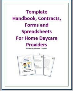 Family Day Care Parent Handbook Template by Template Handbook Contract Forms And Spreadsheets By