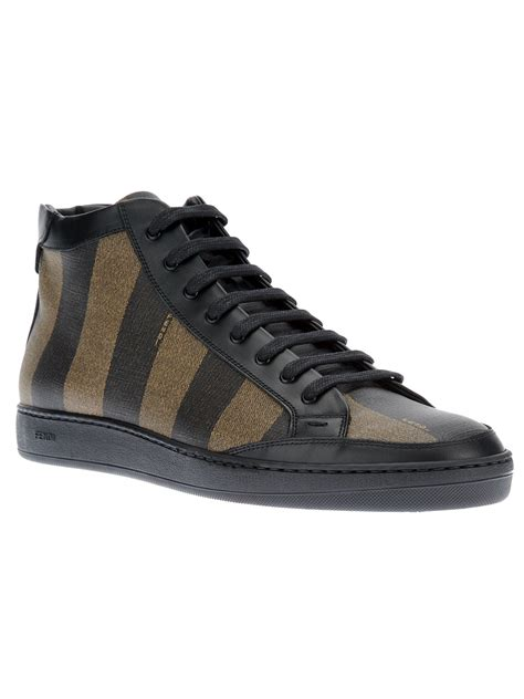 sneakers for lyst fendi striped laceup sneaker in black for