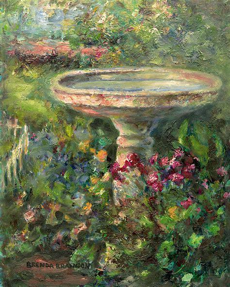 bath painting springtime birdbath painting by brenda brannon