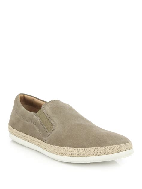 vince mens sneakers vince suede espadrille slip on sneakers in gray for lyst