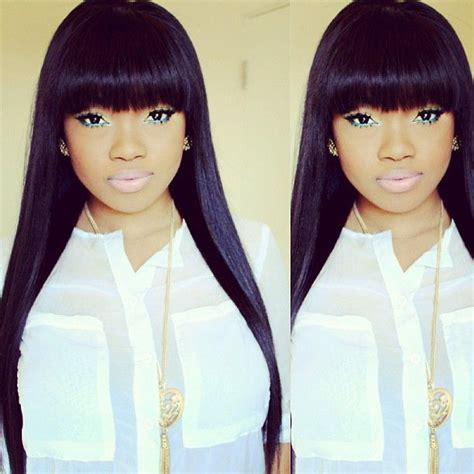 sew in with chinese bang hairstyles full fringe weave hair weave killah pinterest dont