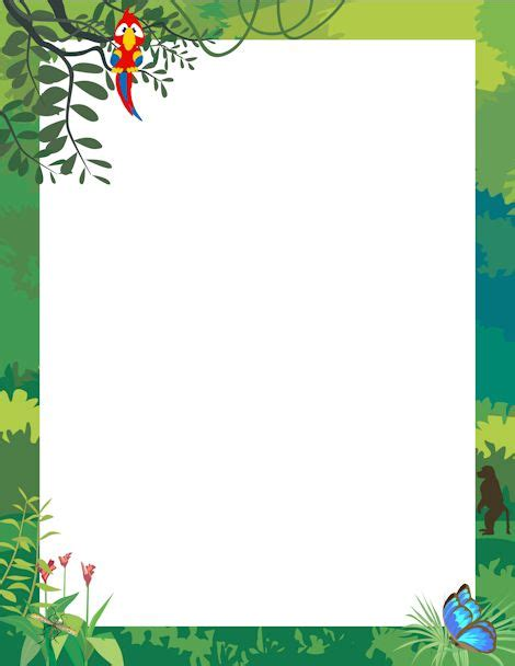 lined paper with rainforest border printable jungle border free gif jpg pdf and png