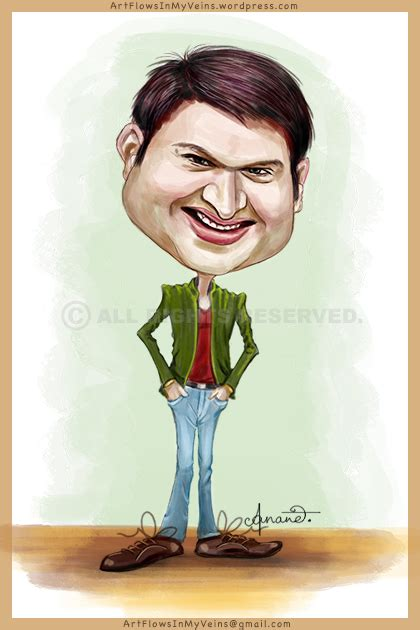 actor comedy cartoon caricature of kapil sharma of comedy nights the most