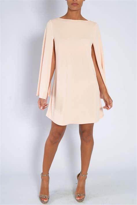 Macy Duvet Covers Blush Pink Cape Sleeve Shift Dress From Rare London