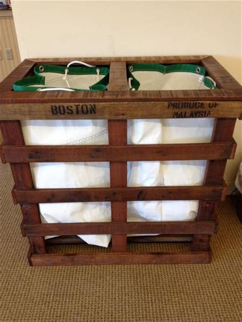 Laundry Sorter From Old Pallets Great Idea Wood Work Wooden Laundry Plans