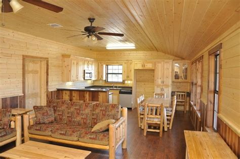 interior of the wide log cabin www
