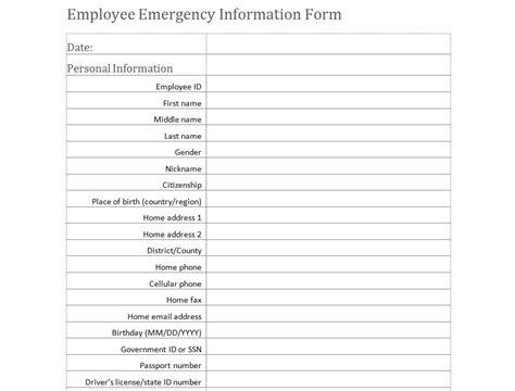 emergency medical information form medical information form