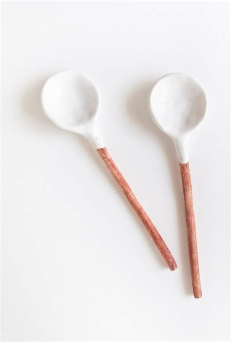 Handmade Spoons - ceramic spoons home decor handmade white glaze pair of