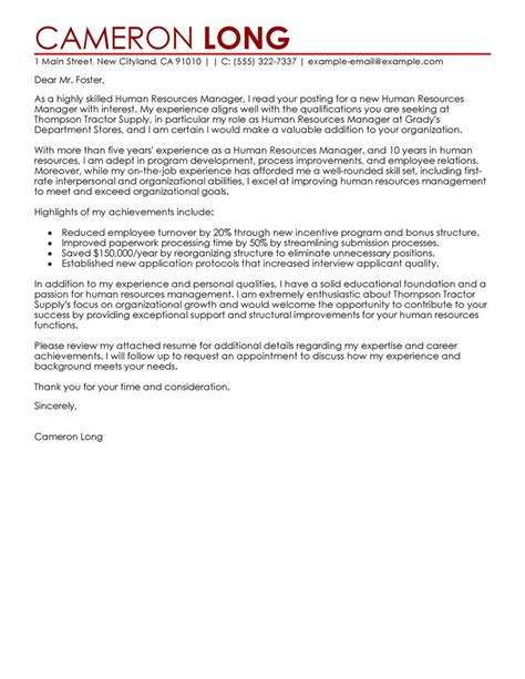 sle of cover letter for human resource position human resources manager cover letter exles human