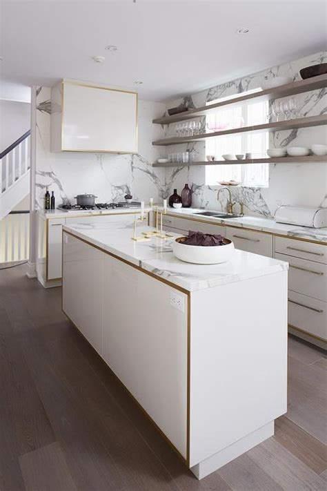 Floating Island Kitchen Cabinet White And Gold Kitchen Cabinets With Gray Floating Shelves In Front Of Windows Contemporary