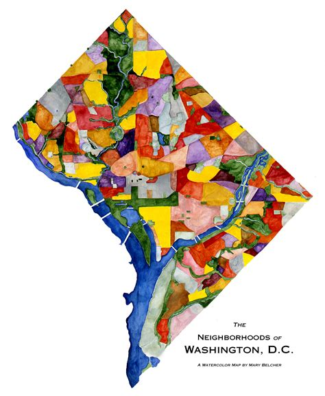 sections of dc dc neighborhoods map mary belcher washington watercolors