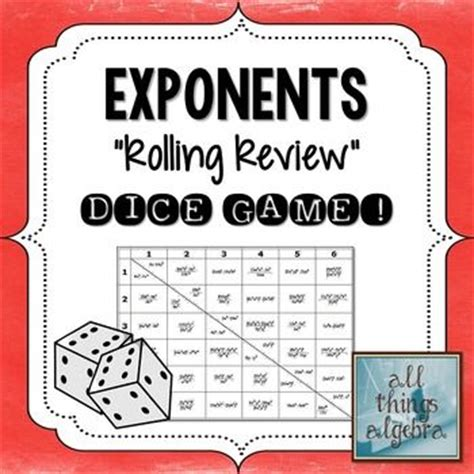 printable exponent games exponent rules dice game simplifying expressions with