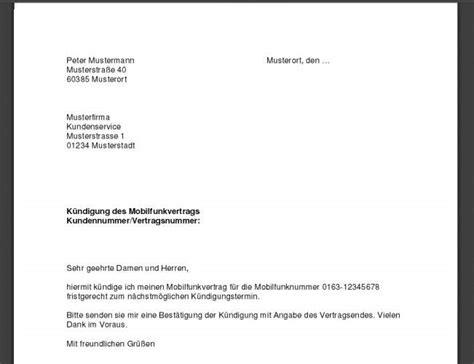 Musterbrief Kündigung Handyvertrag Mobilcom Handyvertrag K 252 Ndigung Vorlage K 252 Ndigung Vorlage Fwptc