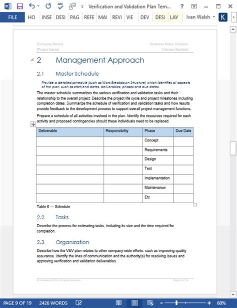 verification and validation plan template technical