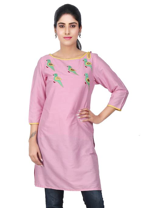 In Pink by Embroidered Cotton Silk Kurti In Pink Thu1718