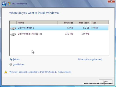 format windows 7