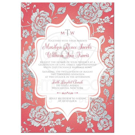 pink white and silver wedding invitations coral pink wedding invitation monogrammed faux silver floral and current projects yourweek