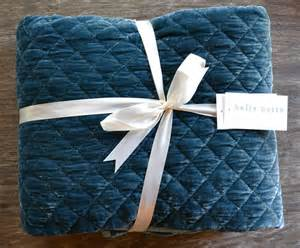 Quilted Blankets by Notte Quilted Silk Velvet Throw Blanket Pacific