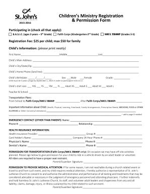 Children S Ministry Registration Form Templates Fillable Printable Sles For Pdf Word Children S Church Registration Form Template