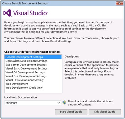 how reset visual studio settings customizing development settings in visual studio