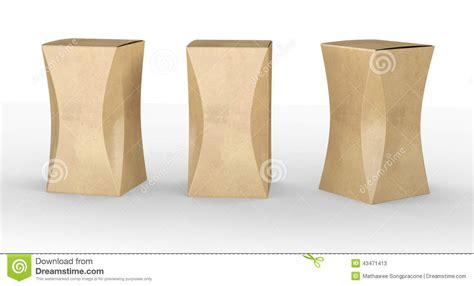 curved box template brown paper box package with curve clipping path included