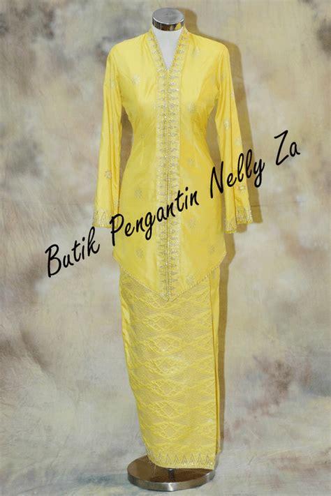 butik pengantin nelly za koleksi baju nelly za songket bunga tabur kuning raja