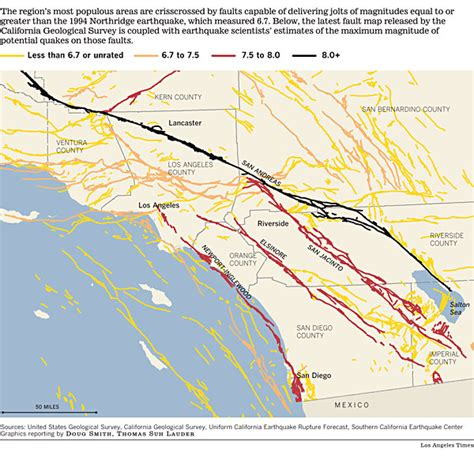 southern california fault lines map california map