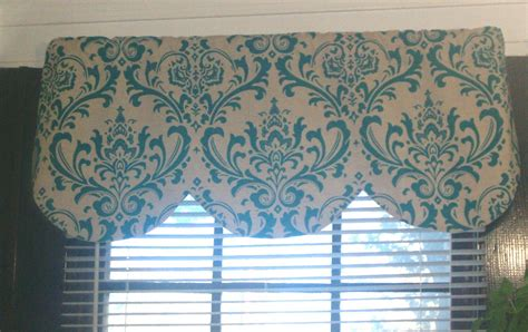 And Blue Valance Window Curtain Valance Damask Turquoise Blue Beige Linen