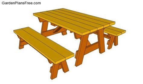 woodwork picnic table plans detached benches  plans
