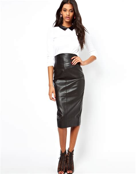 asos wasp pencil skirt in leather where to buy how to wear