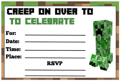 minecraft birthday invitation card template minecraft birthday invitations theruntime