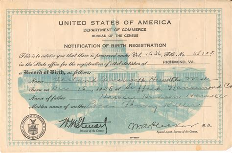 full birth certificate manchester garland a howell