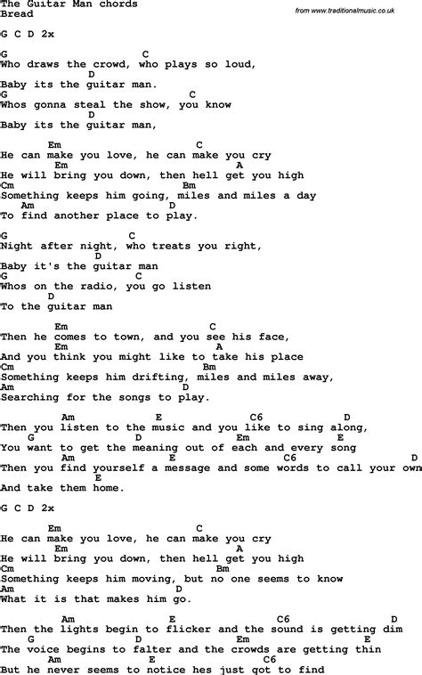 with lyrics song lyrics with guitar chords for the guitar