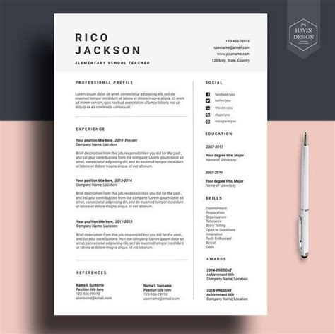 Design Resume Template by Resume Template For Ms Word Cv Template With Free Cover