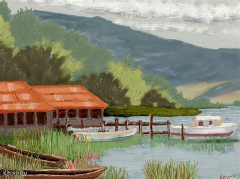 boat scene drawing boat scene a landscape speedpaint drawing by kutedymples