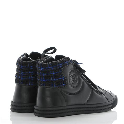 chanel sneakers tweed chanel lambskin tweed zipped sneakers 37 black blue 186674