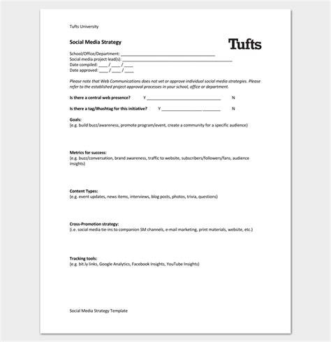 sle social media plan template social media strategy outline template 7 sles for