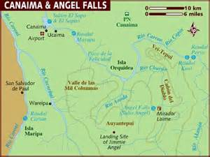 falls south america map map of canaima falls