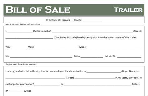 Free Georgia Trailer Bill Of Sale Template Off Road Freedom Free Bill Of Sale Template Ga
