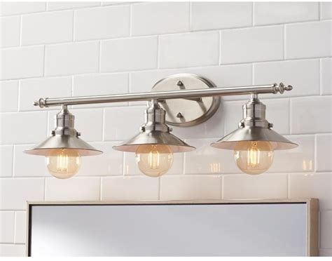 bathroom lighting over mirror 3 light brushed nickel retro vanity light above mirror